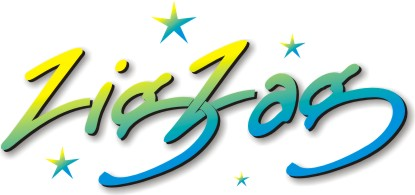 Logo of Zig Zag Community Arts Inc.  Lettering in cursive Font
