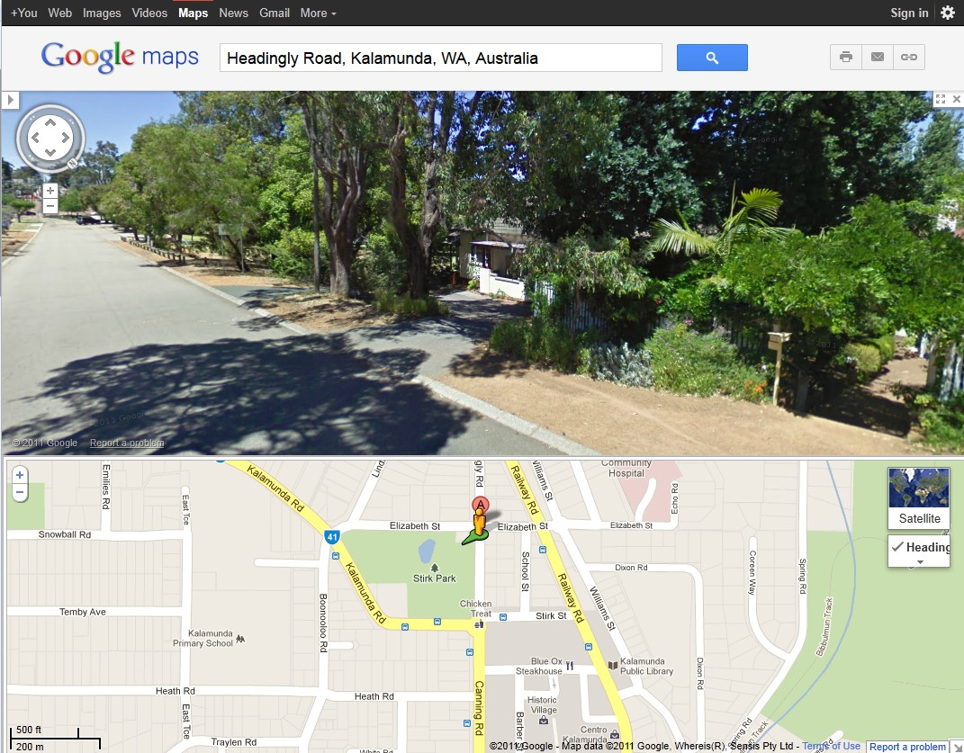 Google maps graphic showing the location of Healdingly Road Cottage