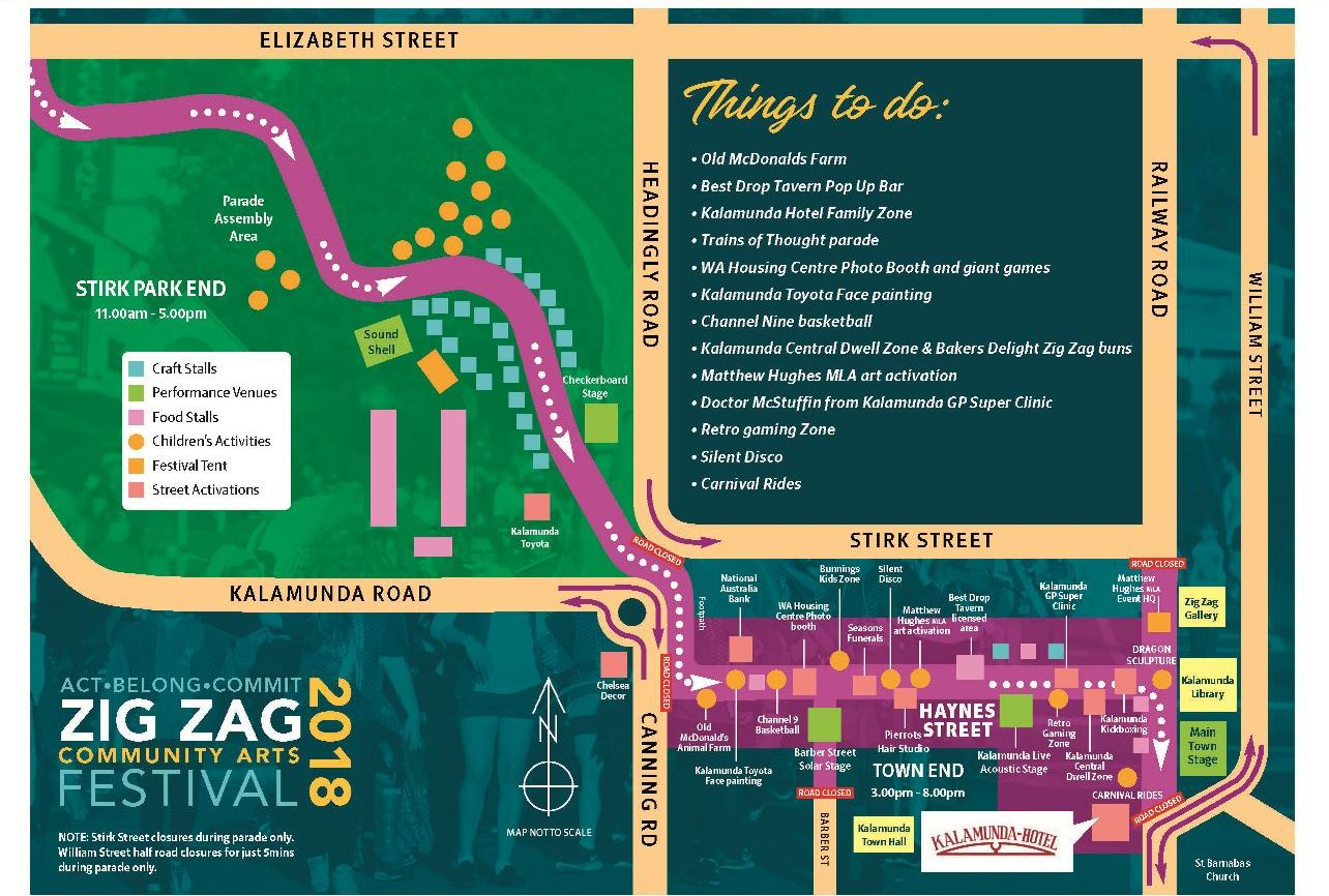 Map showing locations of the ACT BELONG COMMIT ZIG ZAG FESTIVAL SITES