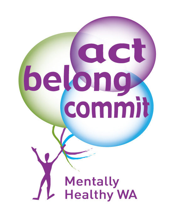 Act-Belong-Commit Logo with 3 balloons