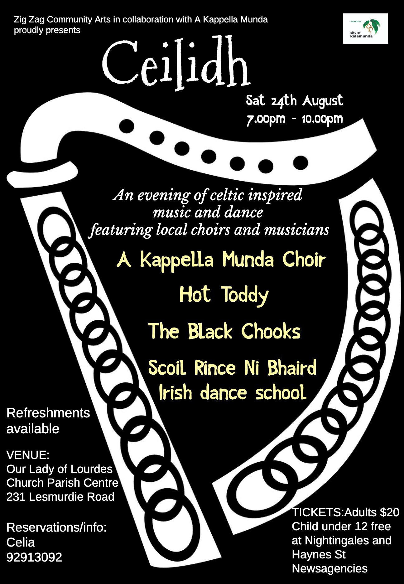 Poster listing performers A Kappella Munda, Hot Toddy, Black Chooks, and Scoil Rince ni Bhaird irish dance school