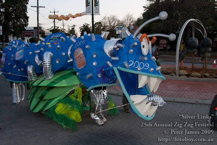 2006 Caterplosion Float with its many legs and 25 segments one for each festival