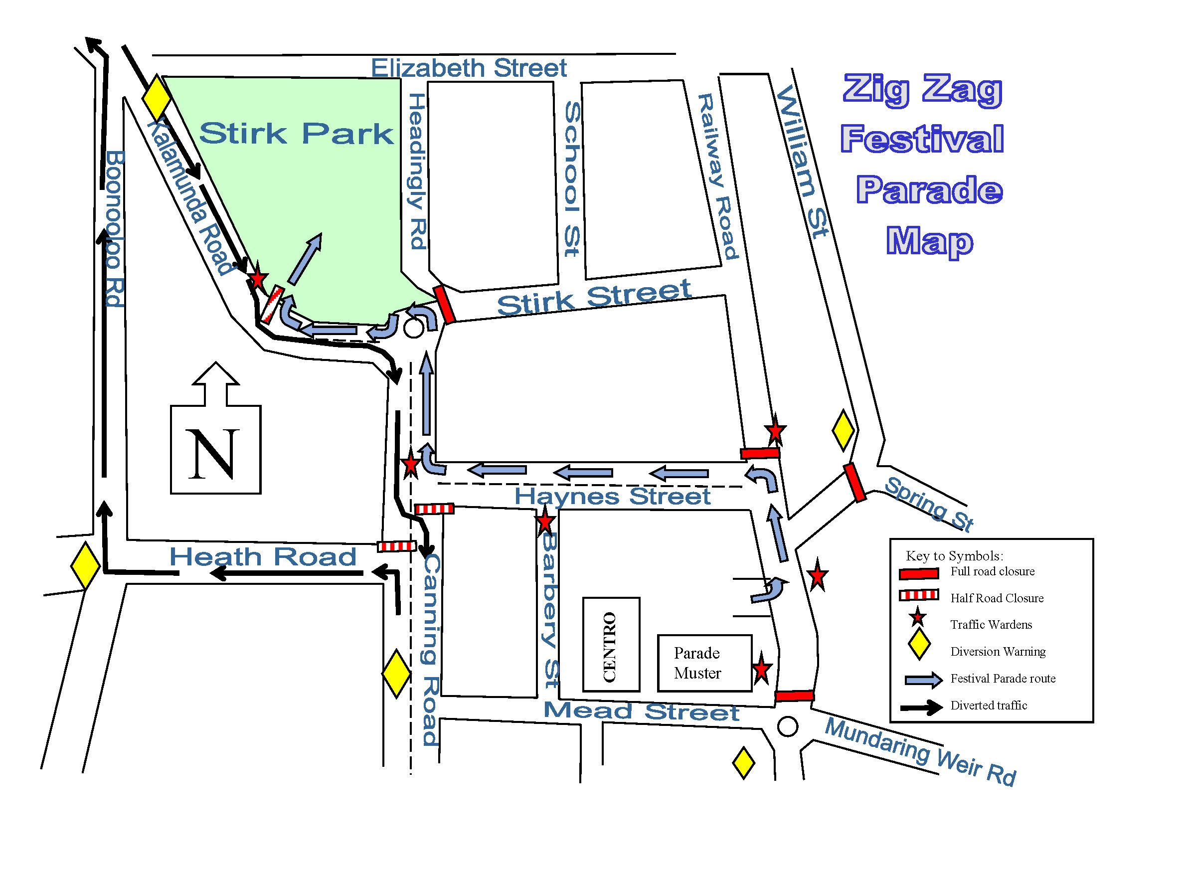 Map of the 2016 road closure for the Parade on 30 October 5:30pm