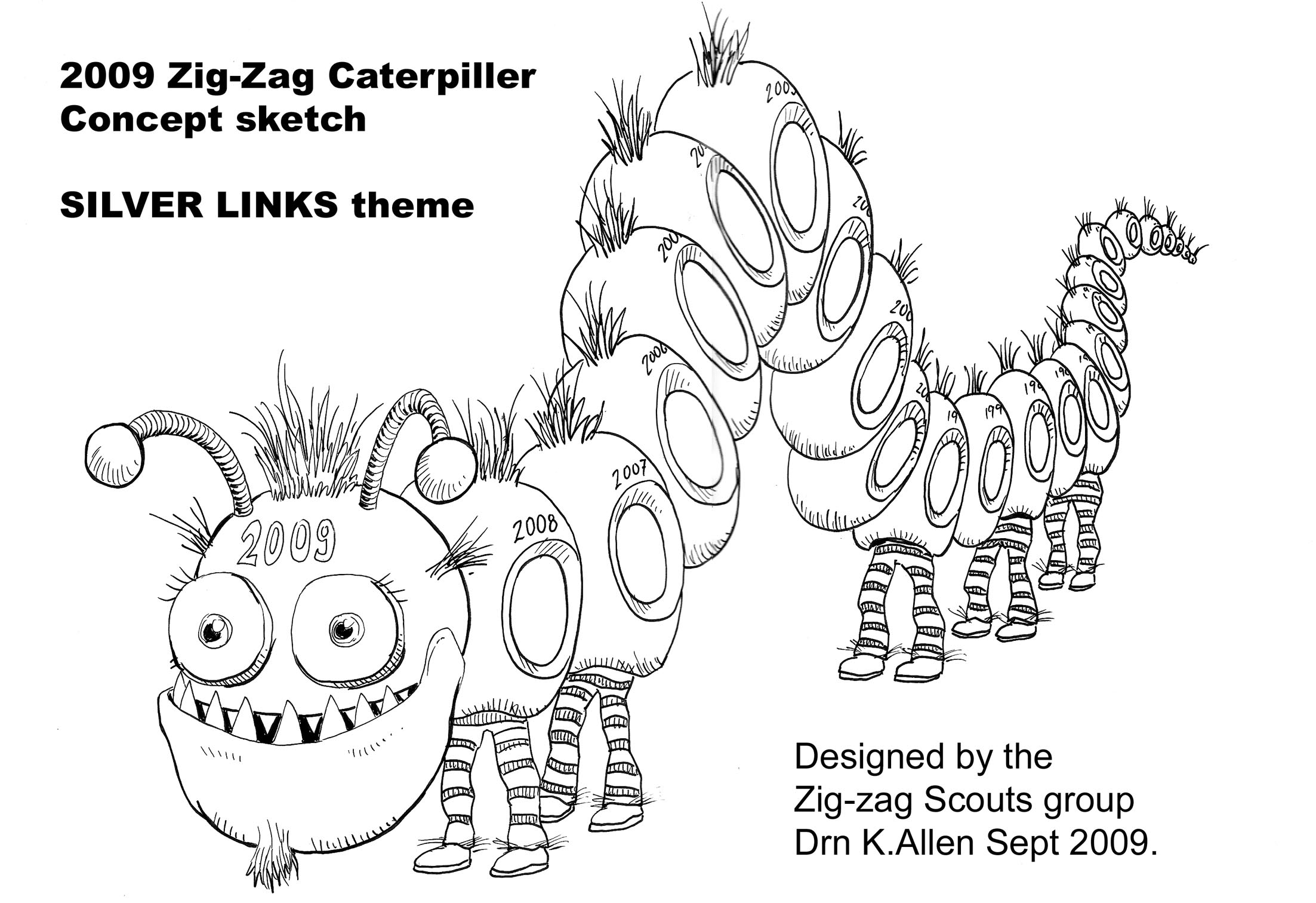 Concept Drawing of the 25 years caterpillar float